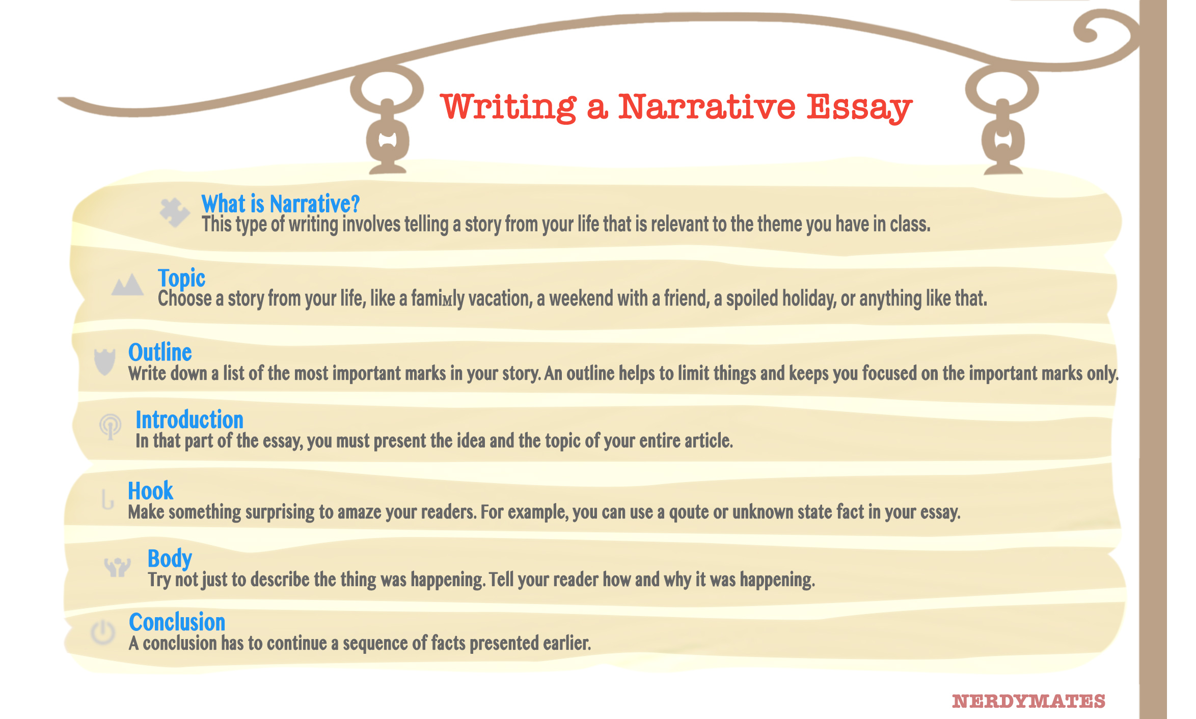 narrative essay on life lesson Narrative essay topics narrative essays are, by definition, personal to you  and describe how you use those lessons in your everyday life with this help, you should be able to write an excellent narrative essay tell the story, but focus on what came of the events in question.
